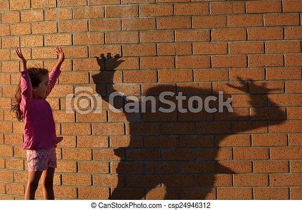 girl, jeu, ombre, elle - csp24946312