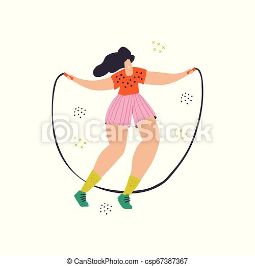 Girl Jump With Skipping Rope Flat Color Drawing Woman In Casual