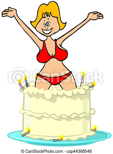 Woman Jumping Out Of Birthday Cake