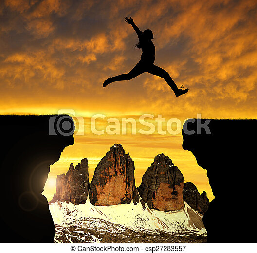 girl jumping over the gap - csp27283557
