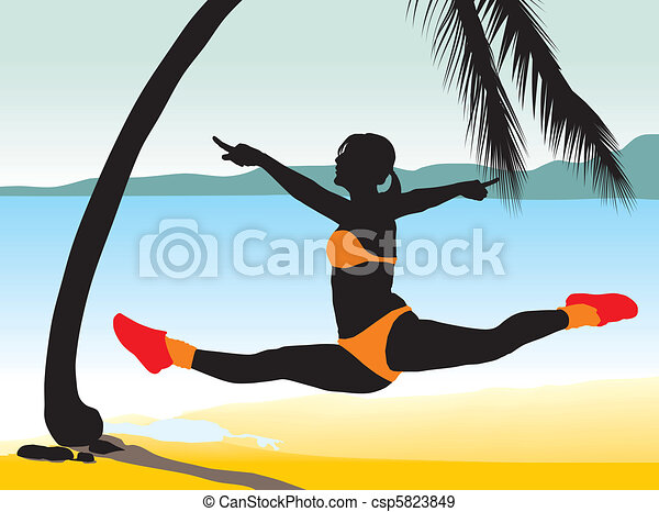 Girl jumping with beach Background - csp5823849