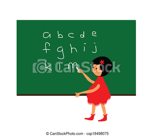 Illustration Of A Kid Boy Learning How To Write ABC In Capital.. Stock  Photo, Picture And Royalty Free Image. Image 93193523.