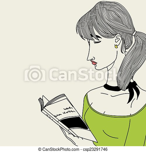 girl lezen, boek - csp23291746