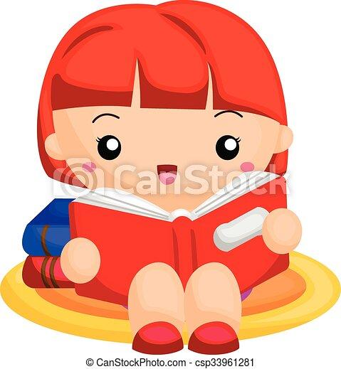 girl lezen, boek - csp33961281