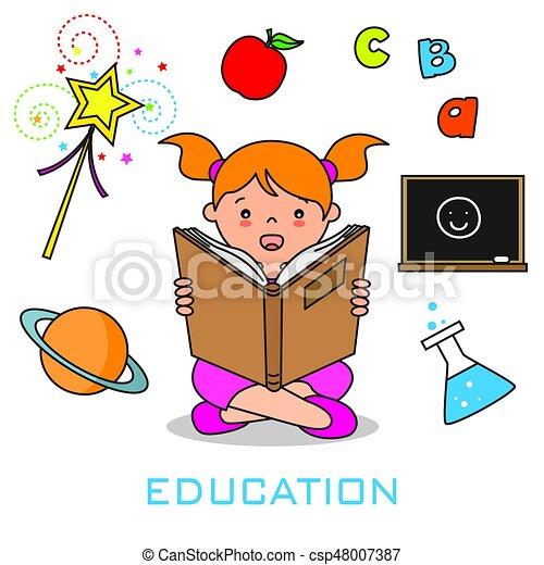 girl lezen, boek - csp48007387