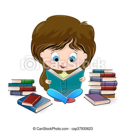girl lezen, boek - csp37930623