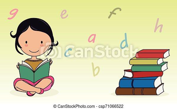 girl lezen, boek - csp71066522