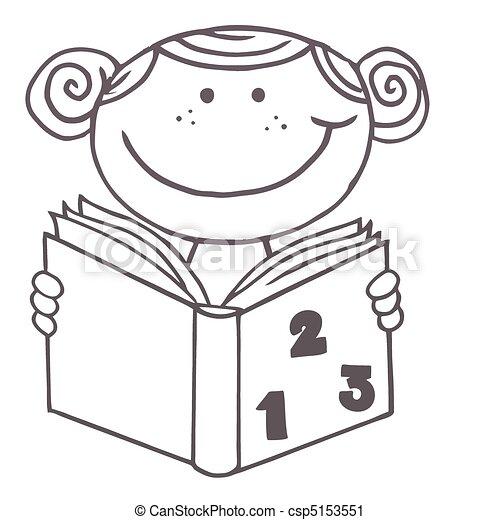 Girl Lezen Boek Wiskunde School Kleuren Schets Boek