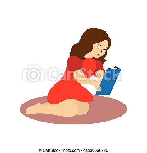 girl lezen, book. - csp30566720