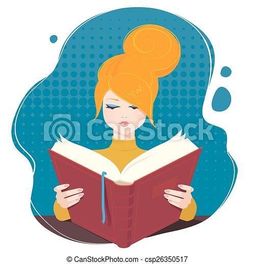 girl lezen, book. - csp26350517