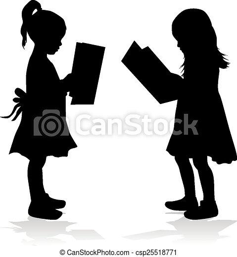 girl lezen, silhouette, book. - csp25518771