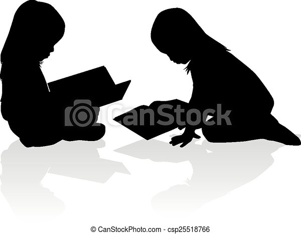 girl lezen, silhouette, book. - csp25518766