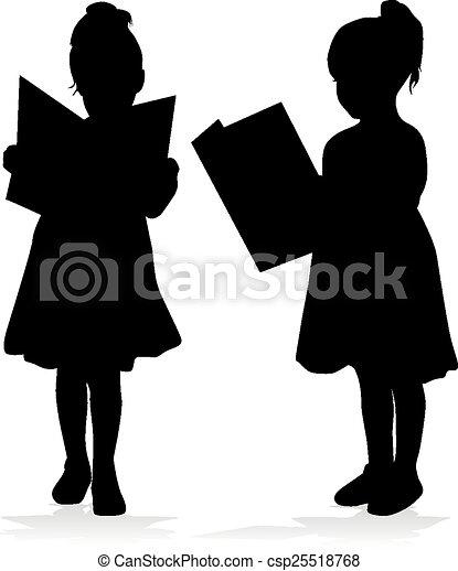 girl lezen, silhouette, book. - csp25518768