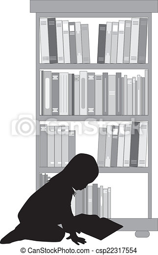 girl lezen, silhouette, book. - csp22317554