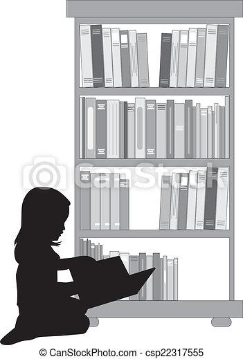girl lezen, silhouette, book. - csp22317555