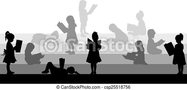 girl lezen, silhouette, book. - csp25518756