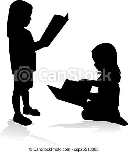 girl lezen, silhouette, book. - csp25518805