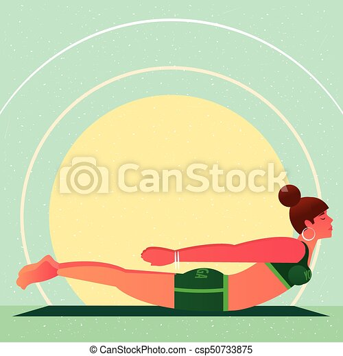 girl lies in yoga locust pose or salabhasana sporty girl