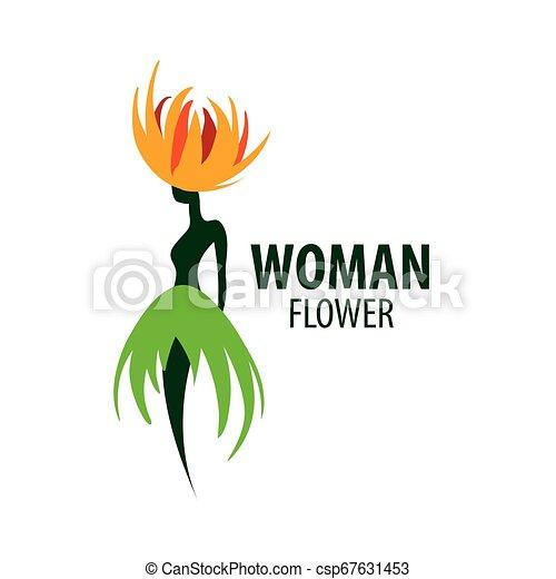 Girl logo in the shape of a flower. Vector illustration - csp67631453
