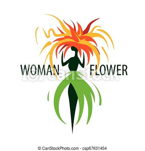 Girl logo in the shape of a flower. Vector illustration - csp67631454