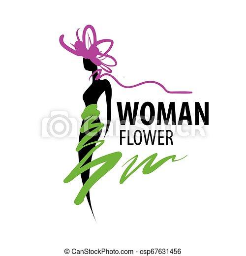 Girl logo in the shape of a flower. Vector illustration - csp67631456