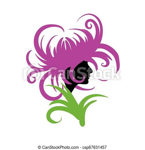 Girl logo in the shape of a flower. Vector illustration - csp67631457