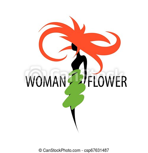 Girl logo in the shape of a flower. Vector illustration - csp67631487