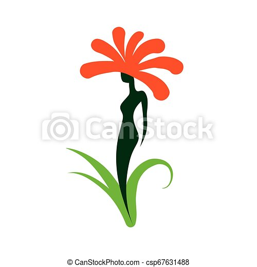 Girl logo in the shape of a flower. Vector illustration - csp67631488