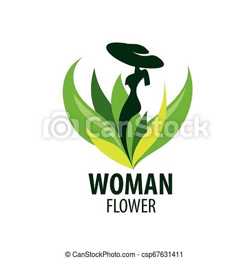 Girl logo in the shape of a flower. Vector illustration - csp67631411