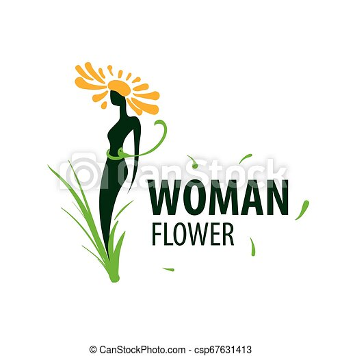 Girl logo in the shape of a flower. Vector illustration - csp67631413