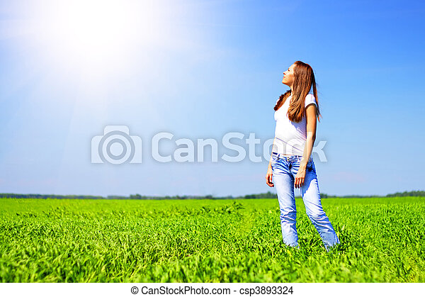 Girl looks at the sun - csp3893324
