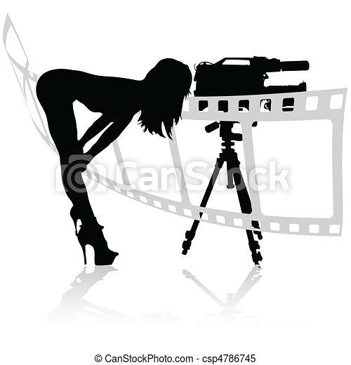girl looks through the camera - csp4786745