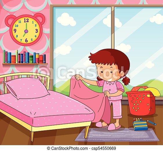 girl making bed in pink bedroom illustration