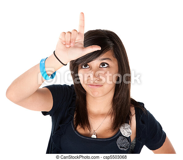 Girl Making the Loser Sign on her Forehead - csp5503068