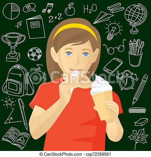 girl, manger, glace - csp72359561