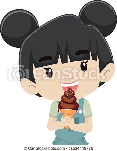girl, manger, glace - csp34449776
