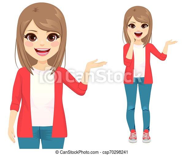 girl, mode, désinvolte, adolescent - csp70298241