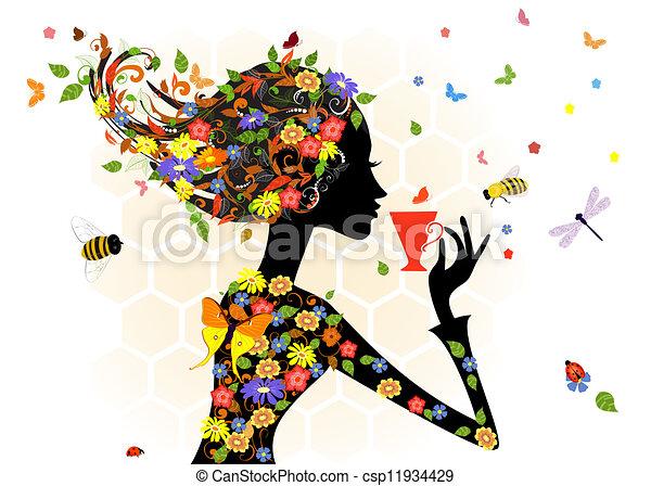 girl, mode, fleurs - csp11934429