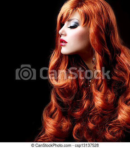 girl, mode, hair., portrait, ondulé, rouges - csp13137528