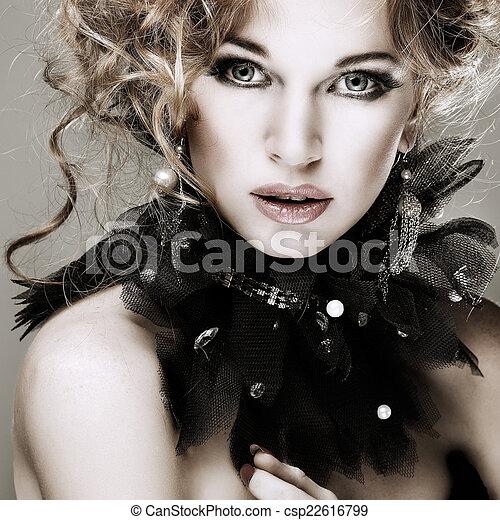 girl, mode, hairs., portrait., accessorys., rouges - csp22616799