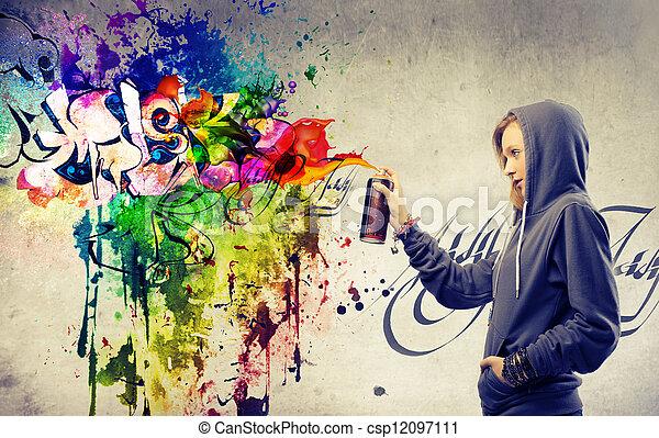 girl mural painting - csp12097111