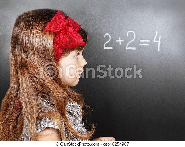 Girl Near Blackboard Learning Maths - csp10254907