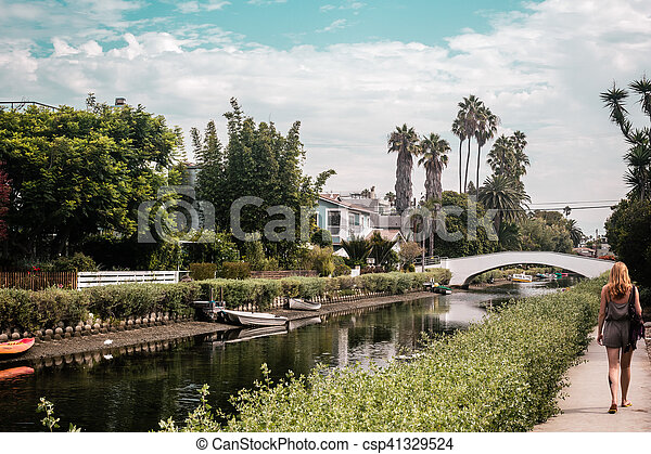 Girl near Canals in Venice, Los Angeles, California - csp41329524