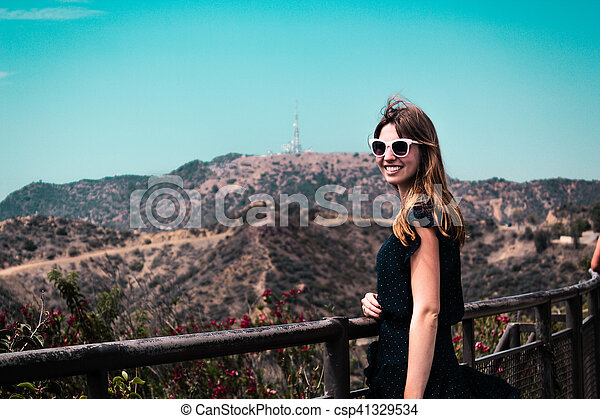Girl near Hollywood Hills in Los Angeles, California - csp41329534