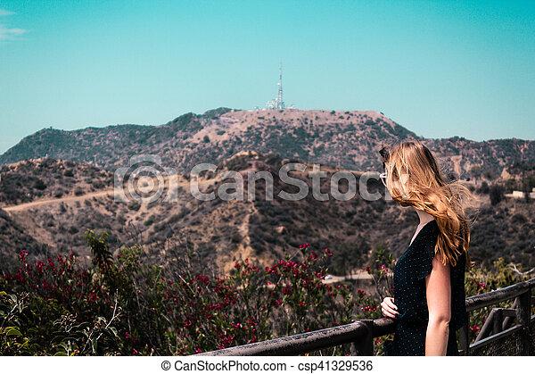 Girl near Hollywood Hills in Los Angeles, California - csp41329536