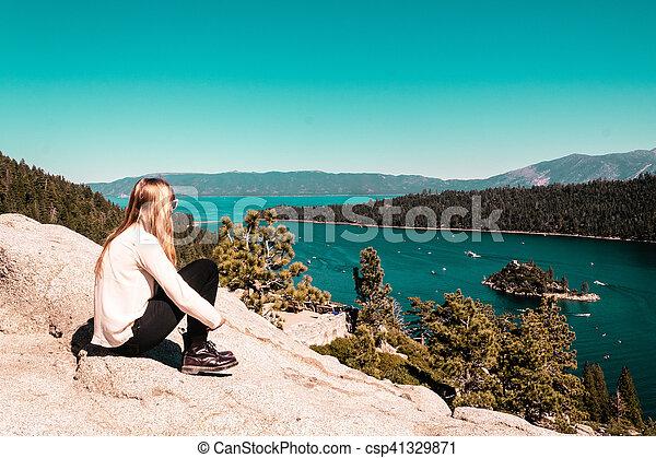 Girl near Lake Tahoe, California - csp41329871