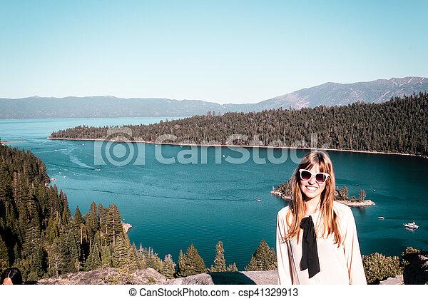 Girl near Lake Tahoe, California - csp41329913
