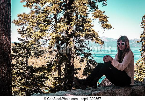 Girl near Lake Tahoe, California - csp41329867