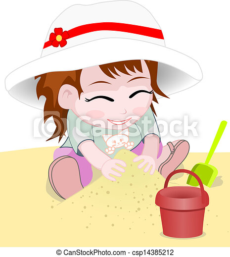 girl on a beach vector - csp14385212