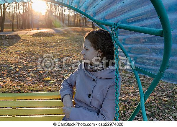 girl on a bench - csp22974828